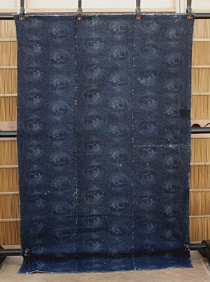 "#1503 Large antique futon cover, indigo stencil dyed, stork and turtle design, small boro patches, 38""w x 60""h, C.1910 Japanese antiques in LA"