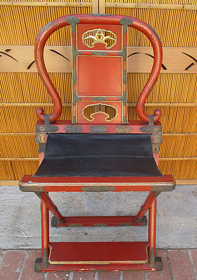 Red lacquer priest's chair, Buddhist shrine, ornate bronze fittings, for Japanese interior design, garden, Japanese antiques in Los Angeles