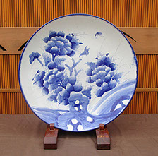 Large blue and white charger, handpainted antique Japanese porcelain, with butterflies, peony, for Japanese interior design, in Los Angeles
