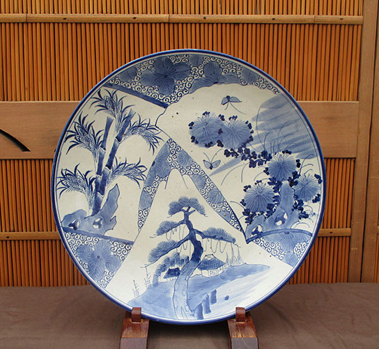 Large blue-white charger, pine, bamboo, kiku designs. Antique Japanese blue and white for Japanese gardens, interior design, in Los Angeles