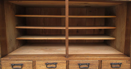 "Center view- Small shop tansu, choba-dansu, cabinet chestnut, 34""h 18 drawers, iron locks, tansu chest for Japanese interior design, Los Angeles"