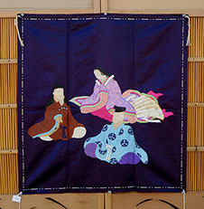 Purple silk fukusa, gift wrapping cloth, detailed embroidery, court lady, colorful kimono, 2 lords in fine robes, antique Japanese textiles L.A.