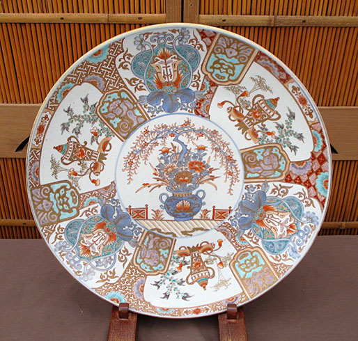 Large Imari charger, hand painted, antique Japanese porcelain for Japanese interior design, Japanese gardens, ikebana, in Los Angeles