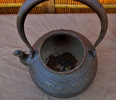 Top view2- Iron teapot, bronze lid, dragons, Japanese tea ceremony, ikebana, mingei, Japanese interior design, Japanese garden, in Los Angeles