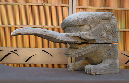 Side view- Large keyaki wood baku, elephant temple guardian, devourer of bad dreams, for Japanese interior design, garden, Buddhist temple deity