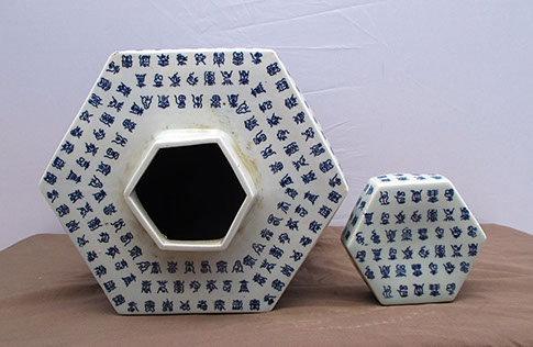 Top view,Pair large six sided pots, covers, small blue white print calligraphy, Chinese porcelain, for scholar's table, Japanese interior design