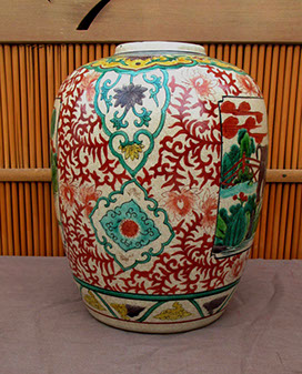Side view - Kutani vase, elephants, colorful enamels, hand painted, antique Japanese porcelain for Japanese interior design, ikebana vase