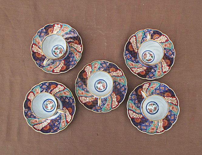 Top view - 5 Imari tea cups and saucers; enamel gold, hand painted antique Japanese porcelain for Japanese tea ceremony, interior design