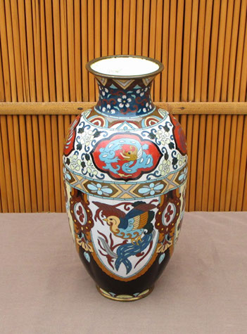 Side view - Cloisonne vase, dragons and phoenix, colorful enamels, for Japanese interior design, ikebana, tea ceremony, Japanese garden, antique