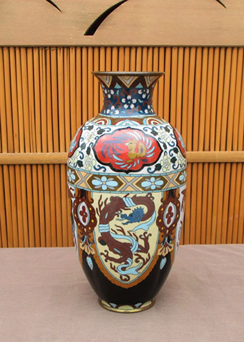 Side view2 - Cloisonne vase, dragons and phoenix, colorful enamels, Japanese interior design, ikebana, tea ceremony, Japanese garden, antique