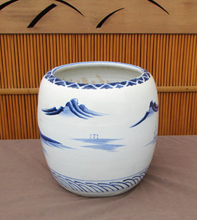 Side view - Pair blue and white hibachi, lake scenes, village, handpainted, Japanese porcelain for ikebana, Japanese garden, interior design