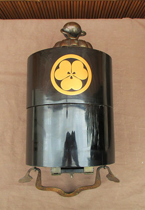 Side view - Black lacquer hanging lantern, gold plum blossom family crest, mon, bronze handle, etched fitting, calligraphy, antiques Los Angeles