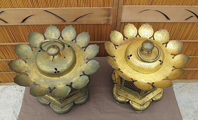 Top view - Pair large gilt hanging temple lanterns, heavy copper, etched, pierced designs of lotus, waves, vines, flowers, clouds, dragons