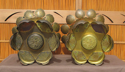Bottom view - Pair large gilt hanging temple lanterns, heavy copper, etched, pierced designs of lotus, waves, vines, flowers, clouds, dragons