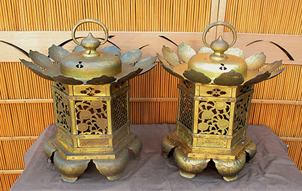 Back view - Pair large gilt hanging temple lanterns, heavy copper, etched, pierced designs of lotus, waves, vines, flowers, clouds, dragons