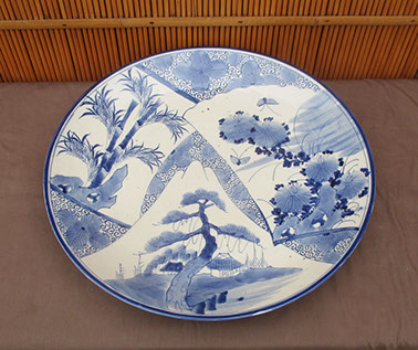 Side view - Large blue-white charger, pine, bamboo, kiku designs. Antique Japanese blue and white for Japanese gardens, interior design