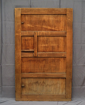"Back view - Small warehouse (kura) door; thick cypress frame, large solid keyaki panel. ""scale weight"" handle, Japanese interior design, garden"