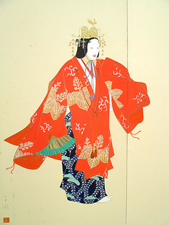 Actor view - Two-panel painted screen, byobu, colorful  Noh actor, empress, orange kimono, gold crown, signed, Japanese art, interior design