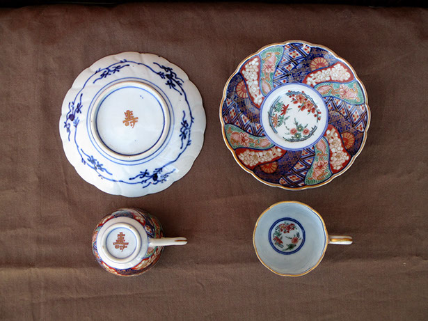 Top view2 - 5 Imari tea cups and saucers; enamel gold, hand painted antique Japanese porcelain for Japanese tea ceremony, interior design