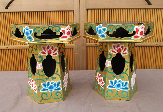 Pair hexagonal gold Buddhist temple stands, colorful lotus flowers, antique Japanese lacquer, Japanese interior design, tea ceremony