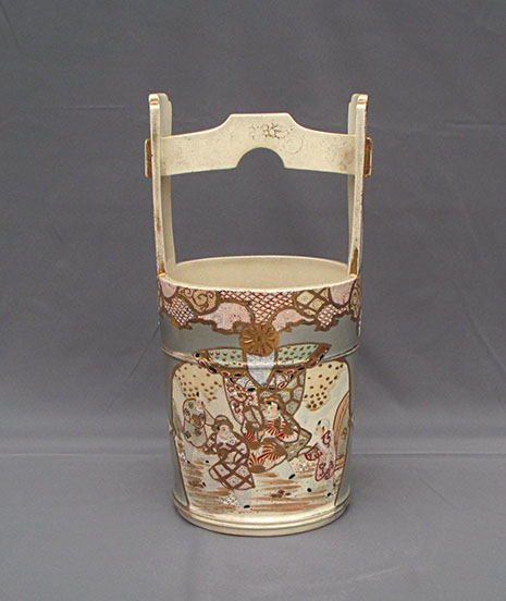 Satsuma bucket vase with tall handle, enamels, gold motif. Antique Japanese pottery for interior design, ikebana, tea ceremony, in Los Angeles