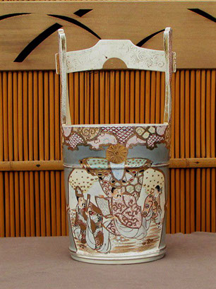 Side view2 - Satsuma bucket vase, tall handle, enamels, gold. Antique Japanese pottery for interior design, ikebana, tea ceremony in Los Angeles